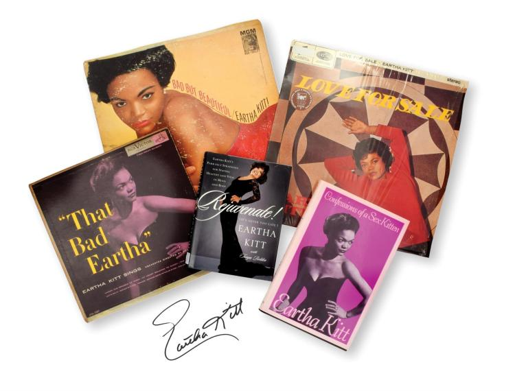 SIGNED EARTHA KITT BOOKS AND RECORDS.