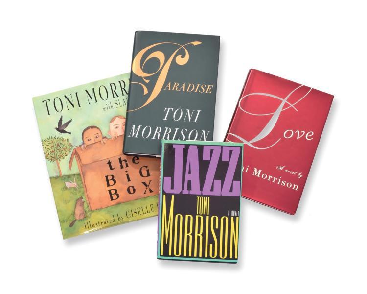 SIX AUTOGRAPHED TONI MORRISON BOOKS.