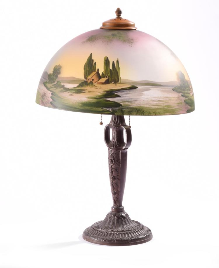 TABLE LAMP WITH PAINTED SHADE.
