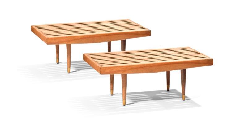 CZECH MCM SLAT SIDE TABLES.