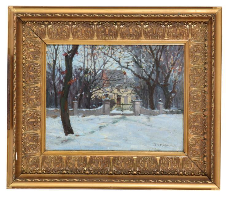 SNOWY CHATEAUX BY JOHN J. REDMOND (SWISS-AMERICAN, 1856-1929).