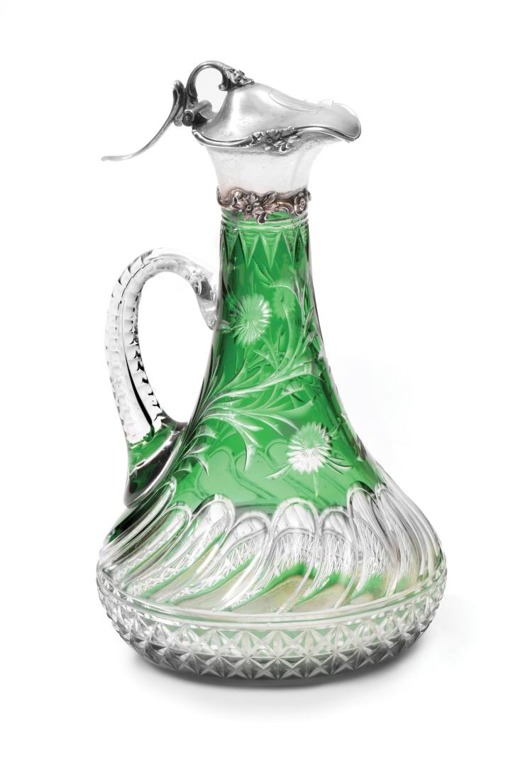 BOHEMIAN CUT EMERALD CRYSTAL EWER WITH GORHAM MOUNTS.
