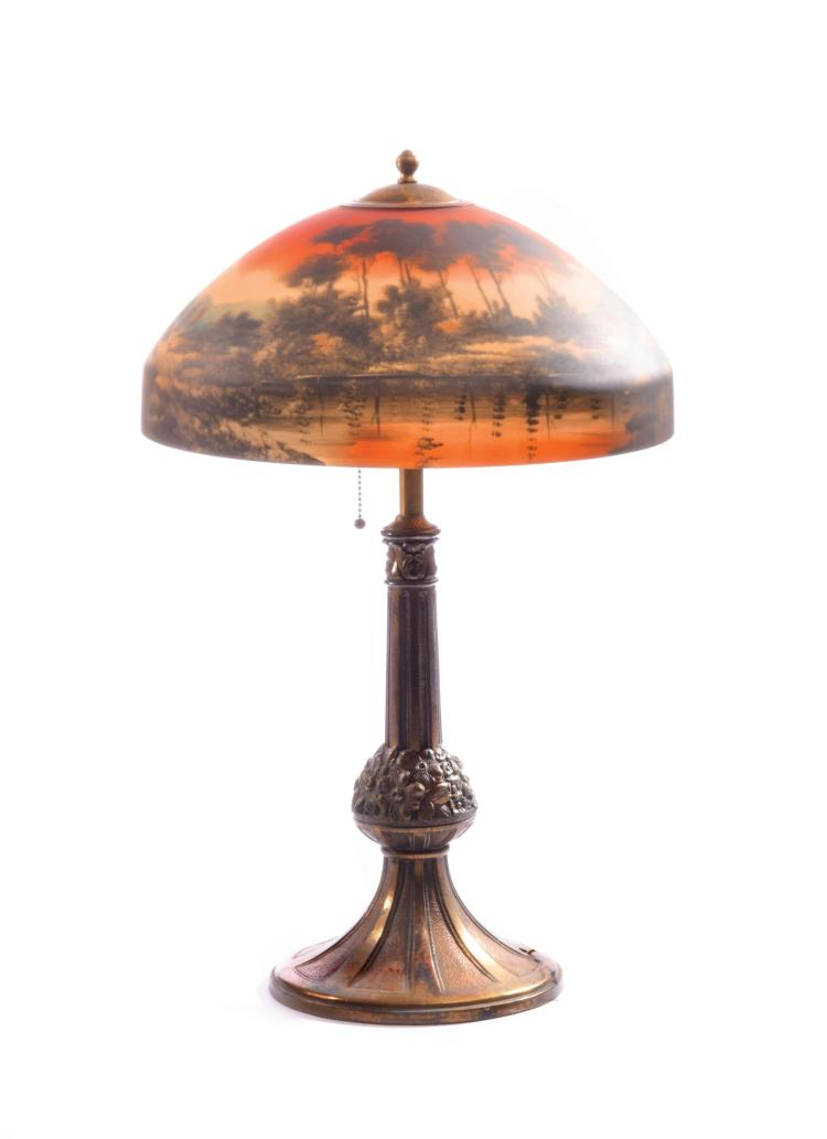 TABLE LAMP WITH REVERSE PAINTED SHADE.