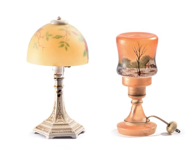 TWO PAINTED BOUDOIR LAMPS.