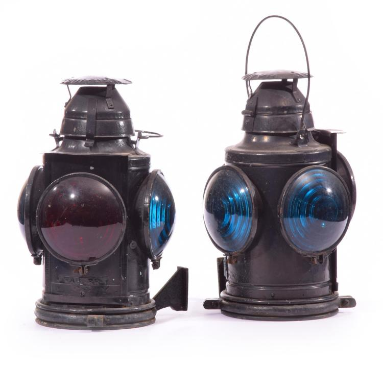 TWO HANDLON RAILROAD LANTERNS.
