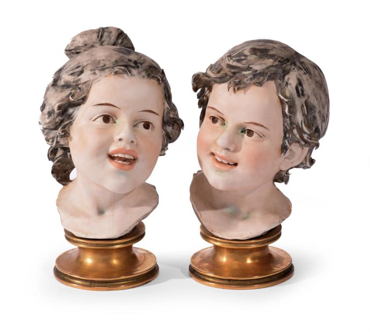 TWO BISQUE BUSTS.