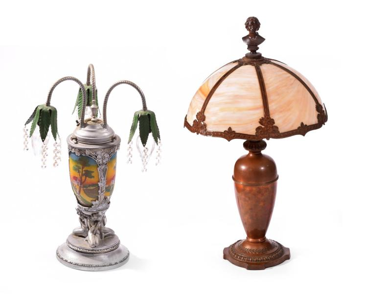 TWO ARTS & CRAFTS STYLE LAMPS.