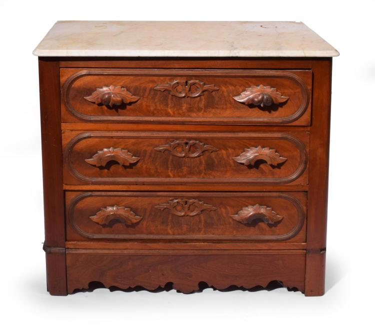 VICTORIAN WALNUT AND MARBLE TOP DRESSER.
