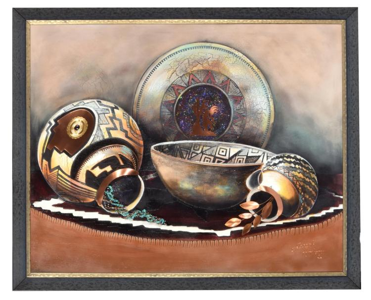 STILL LIFE WITH NATIVE AMERICAN POTTERY BY JOSEPH ANTHONY (AMERICAN, 20TH CENTURY).
