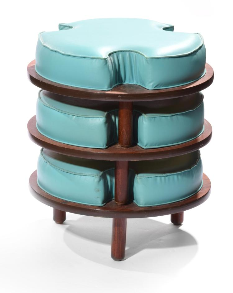 SET OF THREE MCM STACKABLE STOOL SEATS.
