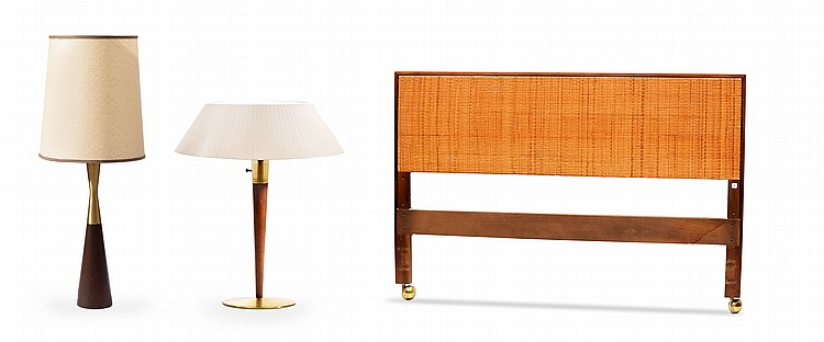 KNOLL HEADBOARD AND TWO MID CENTURY LAMPS.