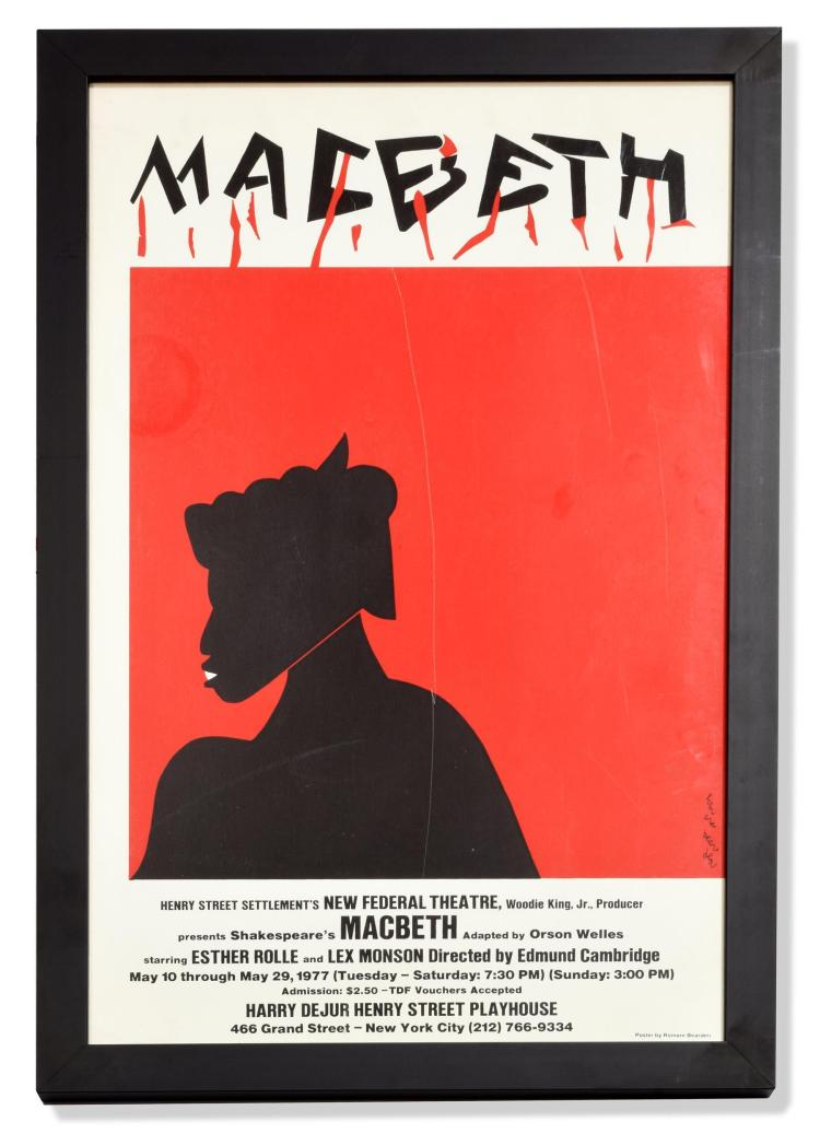 MACBETH POSTER BY ROMARE BEARDEN (AMERICAN, 1911 - 1988).