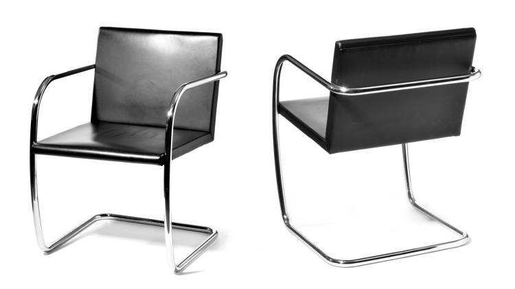 SET OF SIX MODERN CHAIRS BY MIES VAN DER ROHE.