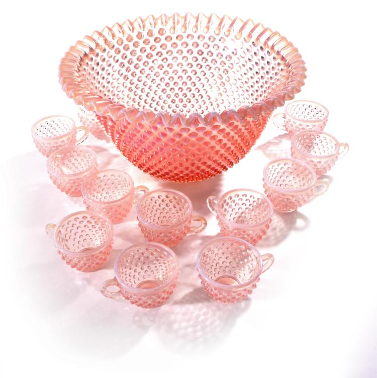 FENTON HOBNAIL PUNCHBOWL SET AND TUMBLERS.