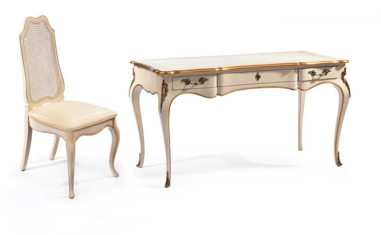 FRENCH PROVINCIAL DESK AND CHAIR BY JOHN WIDDICOMB.