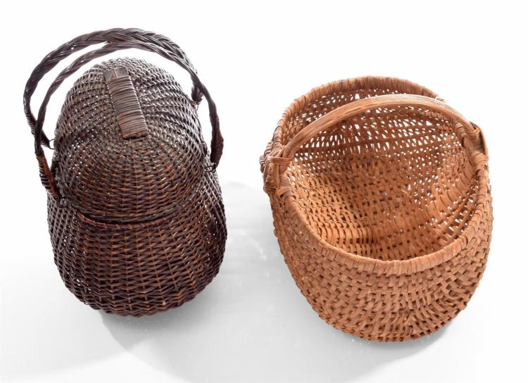 TWO VINTAGE WOVEN HANDLED BASKETS.