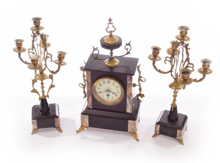 THREE PIECE CLOCK GARNITURE.