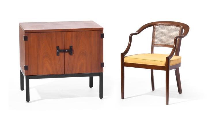 MCM CABINET AND HORSESHOE CHAIR .