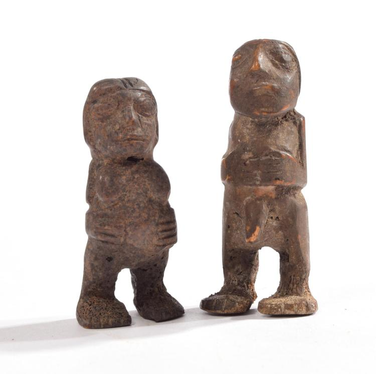 PAIR OF NAZCA VALLEY CARVED BONE ANCESTRAL FERTILITY SCULPTURES.