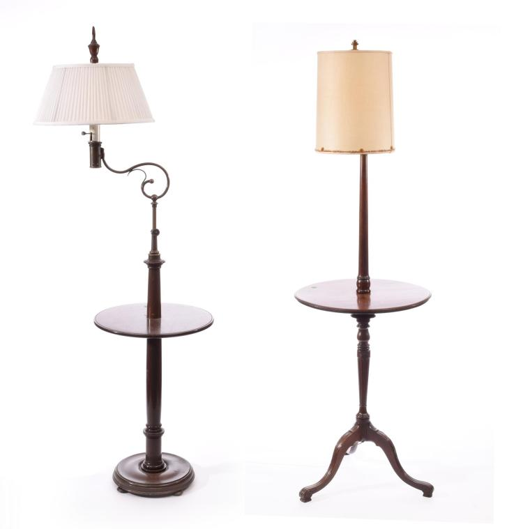 TWO FLOOR LAMP TABLES.
