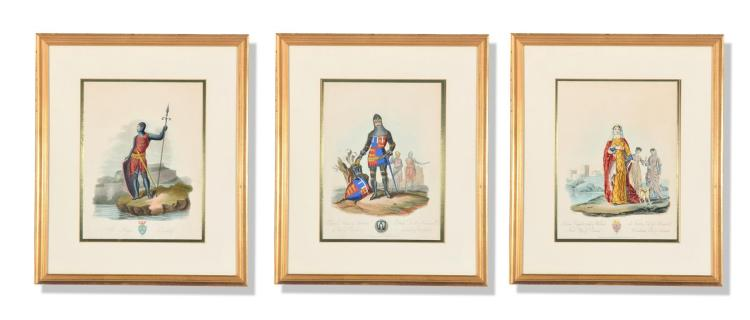 THREE ENGRAVINGS FROM ANCIENT COSTUMES OF GREAT BRITAIN AND IRELAND BY CHARLES HAMILTON SMITH (ENGLISH, 1776-1859).