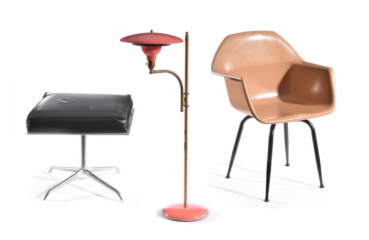MODERN CHAIR, OTTOMAN AND TWO FLOOR LAMPS.