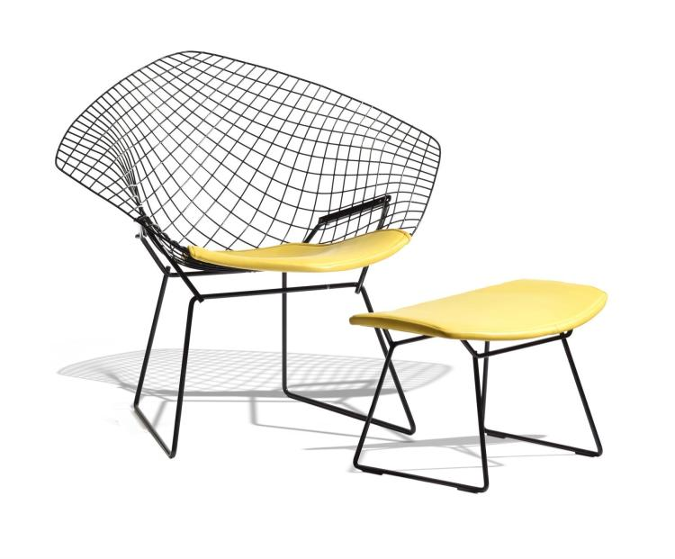 DIAMOND CHAIR AND OTTOMAN BY HARRY BERTOIA FOR KNOLL.