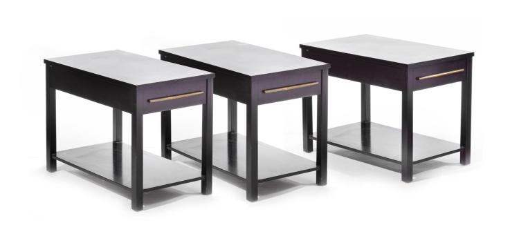SET OF THREE ALVIN WEAVER SIDE TABLES.