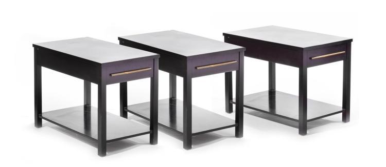 SET OF THREE ALVIN WEAVER SIDE TABLES.