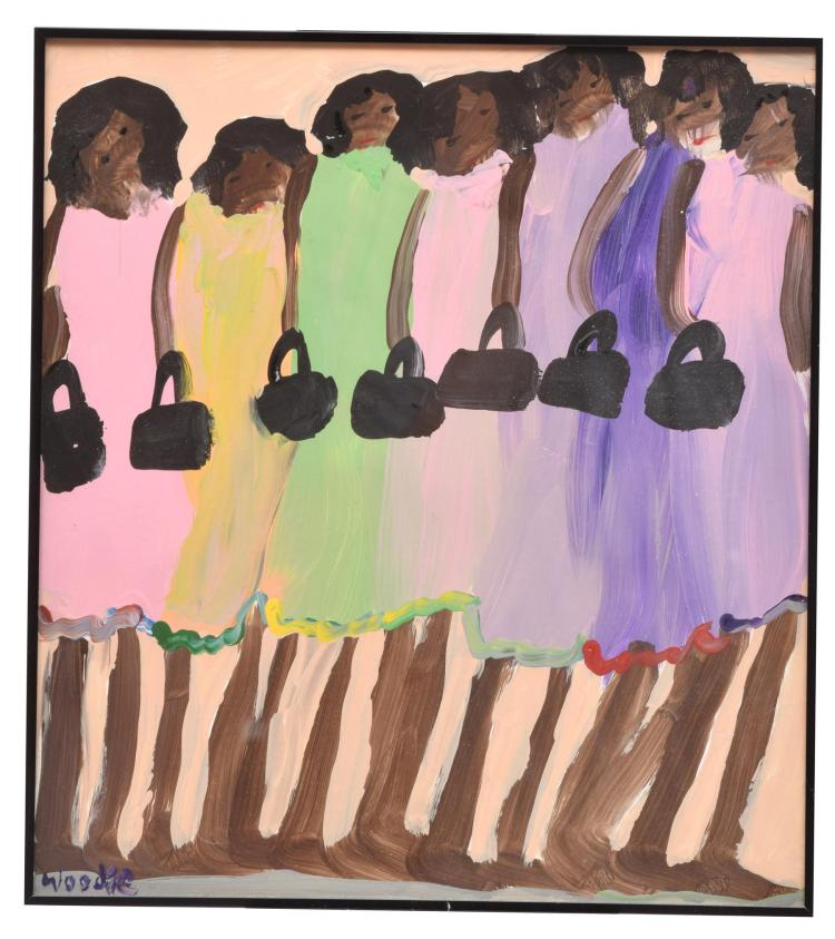 FIGURES WITH PURSES BY WOODIE LONG (AMERICAN, 1942-2009).