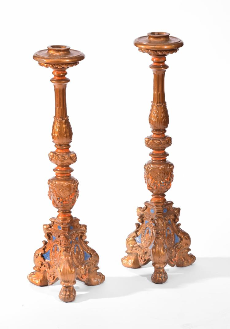 PAIR TALL CANDLESTICKS.