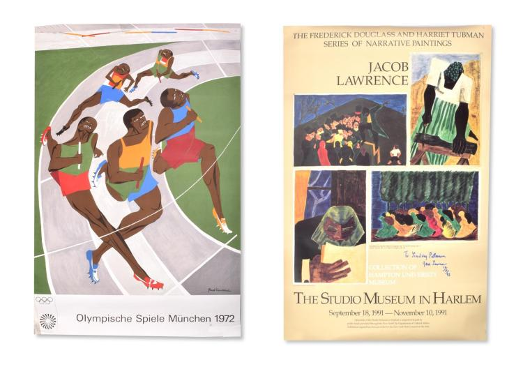 TWO POSTERS BY JACOB LAWRENCE, ONE DEDICATED AND AUTOGRAPHED.