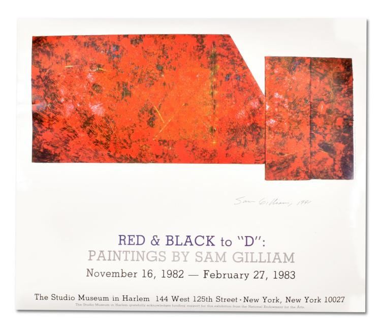 SAM GILLIAM ART EXHIBIT POSTER AUTOGRAPHED BY THE ARTIST.