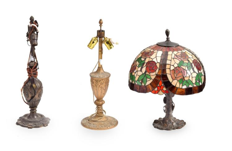 THREE VINTAGE LAMPS.
