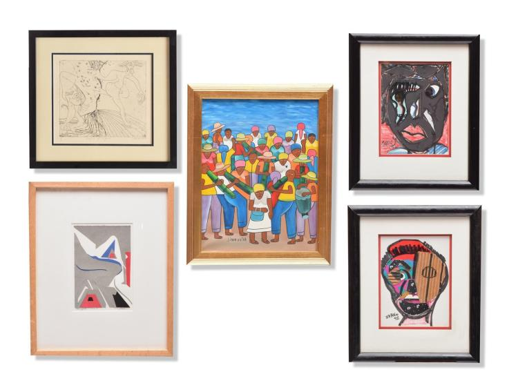 GROUP OF FIVE FRAMED ARTWORKS BY VARIOUS ARTISTS (AMERICAN, MID-LATE 20TH CENTURY).
