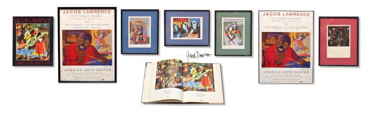 COLLECTION OF SIGNED WORKS BY JACOB LAWRENCE, INCLUDING A PERSONAL LETTER.