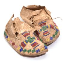 PAIR OF BEADED MOCCASINS.