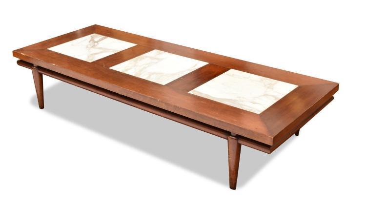 STONE INSET COFFEE TABLE BY T.H. ROBSJOHN GIBBINGS.