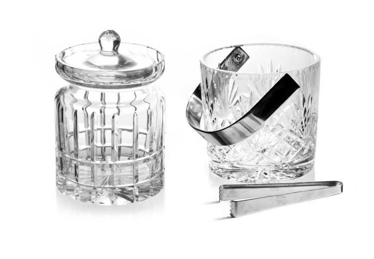 TWO PIECE CRYSTAL TABLE ARTICLES.