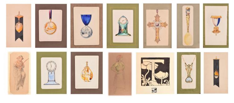 PORTFOLIO GROUP OF ORIGINAL HAND PAINTED DESIGNS, AMERICAN (EARLY 20TH CENTURY).