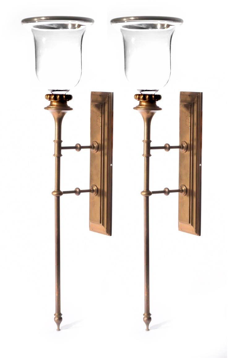 PAIR OF BRASS WALL SCONCES.