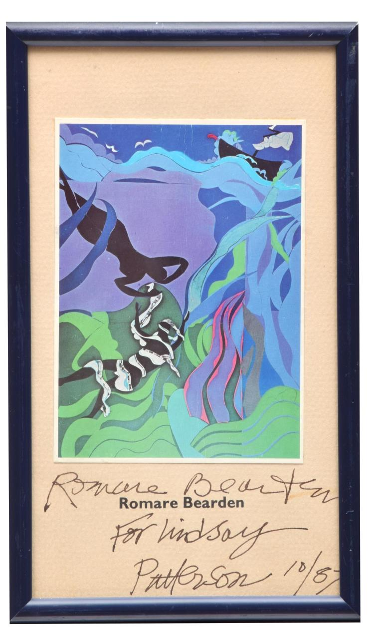 POSTCARD SIGNED BY ROMARE BEARDEN (AMERICAN, 1911-1988) .