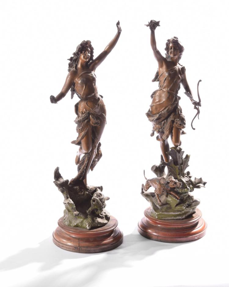 TWO SPELTER FIGURES.
