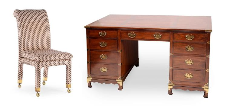 HENREDON CHINOISERIE DESK AND CHAIR.