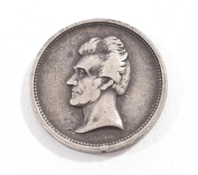 RARE ABRAHAM LINCOLN CAMPAIGN TOKEN COIN WITH REVERSE OF WASHINGTON.