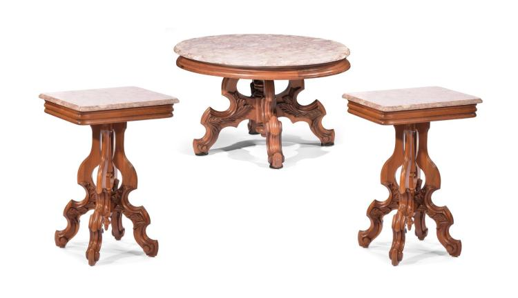 THREE MARBLE TOP TABLE SET.