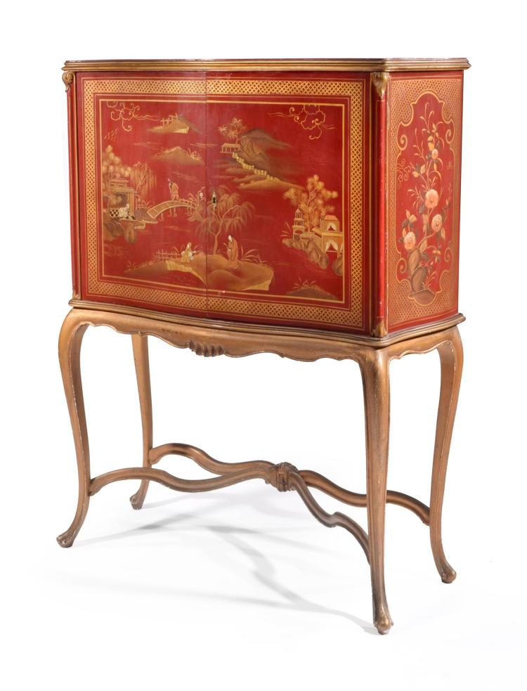 MID CENTURY CHINOISERIE DRINKS BAR.