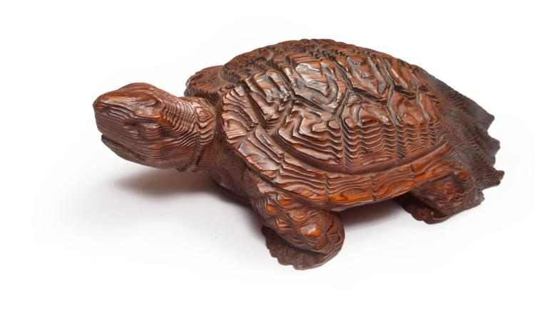 CARVED WOODEN TURTLE.