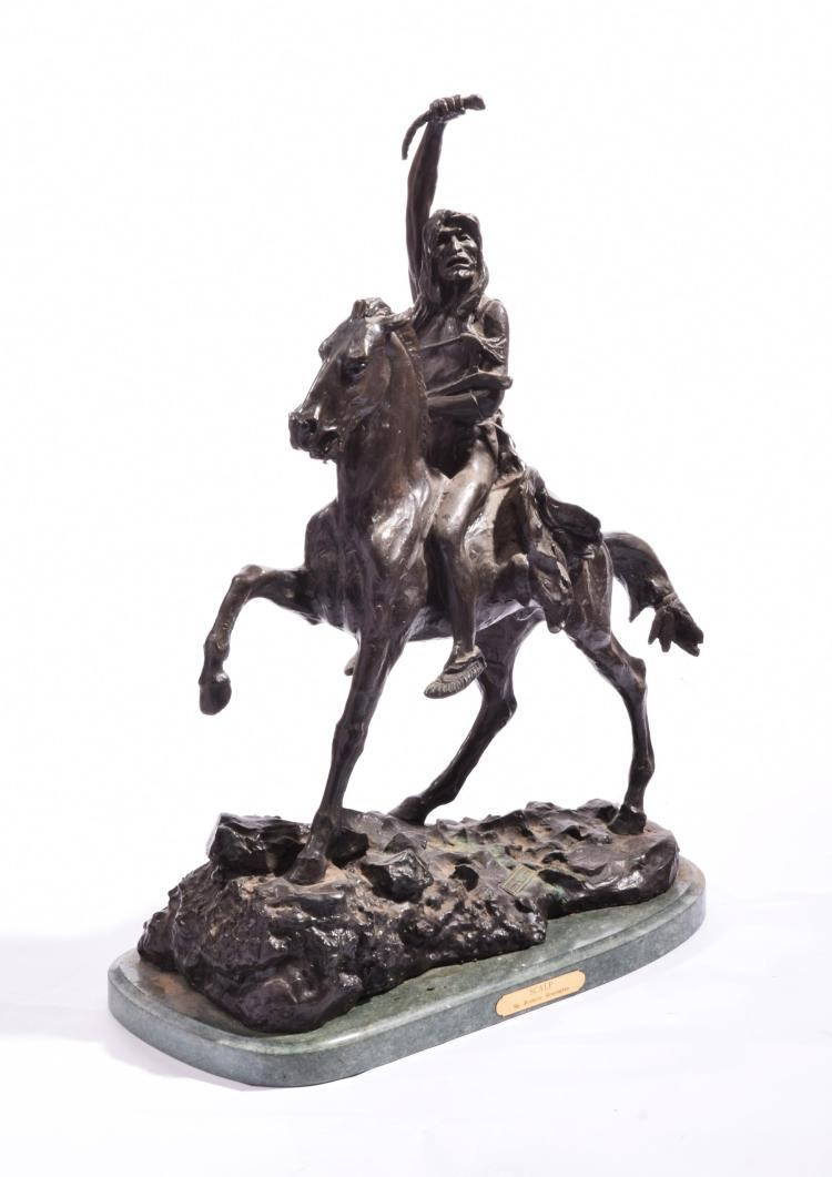 BRONZE SCULPTURE AFTER FREDERIC REMINGTON.