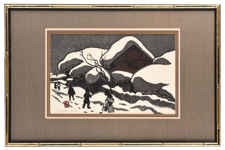 WINTER IN AIZU BY KIYOSHI SAITO (JAPANESE, 1907-1997).